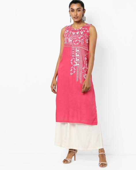 Geometric Print Straight Kurta By Global Desi ( Pink )