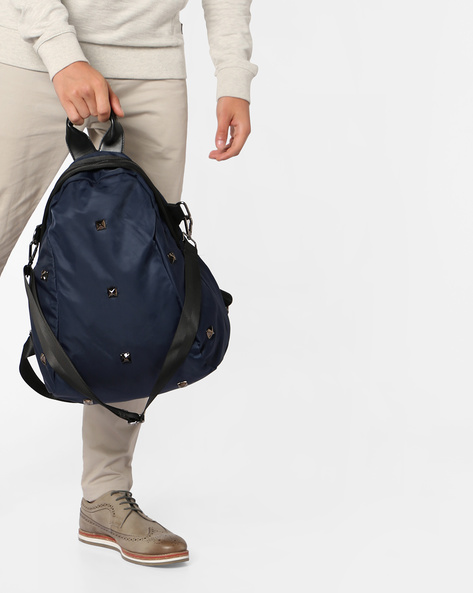Backpack With Metal Trims By AJIO ( Navy )