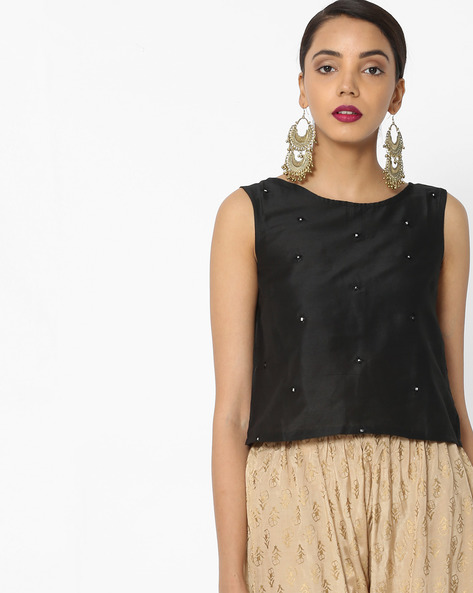 Sleeveless Top With Mirror Work By Akkriti By Pantaloons ( Black )