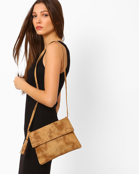 Sling Bag With Tassel By AJIO ( Tan )