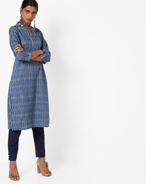 Cotton Straight Kurta By Biba ( Turquoise )