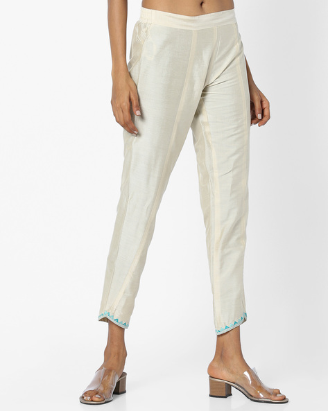 Panelled Pants With Embroidery By AJIO ( Ivory )