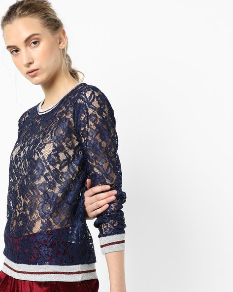 Sheer Floral Lace Top By Project Eve WW Athleisure ( Navy )