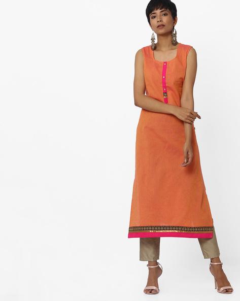 Sleeveless Straight Kurta With Woven Taping By AVAASA MIX N' MATCH ( Orange )