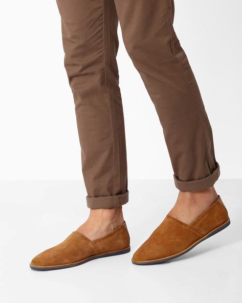 Genuine Leather Slip-Ons By AJIO ( Tan )