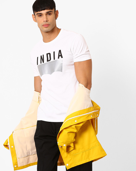 Cotton T-shirt With Printed Branding By LEVIS ( White )