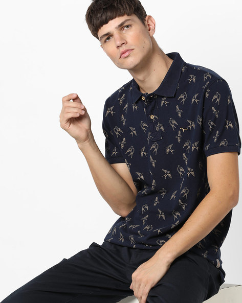 Printed Polo T-shirt By FLYING MACHINE ( Navy )