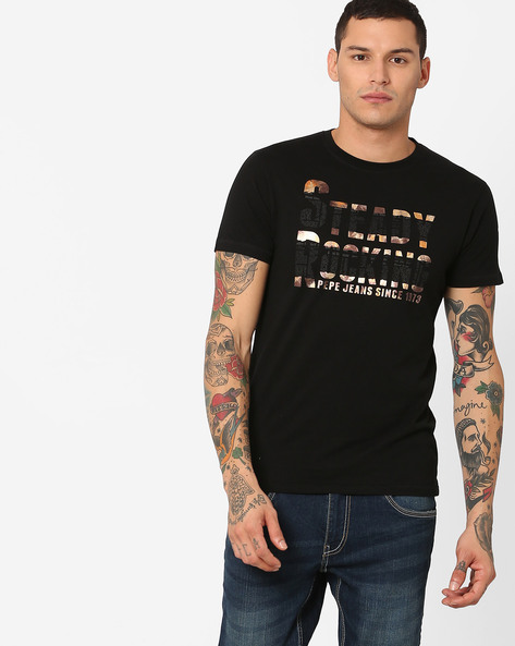 Slim Fit Printed T-shirt By Pepe Jeans ( Black )
