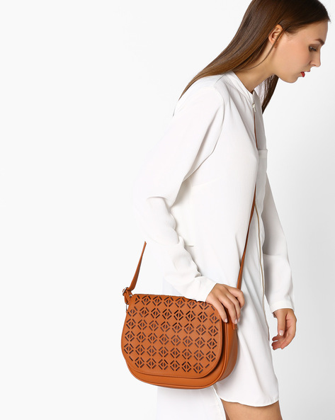 Laser Cut Sling Bag With Detachable Straps By AJIO ( Tan )