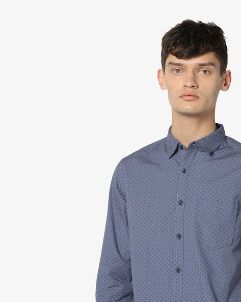 Micro Print Slim Fit Shirt By SPYKAR ( Grey )