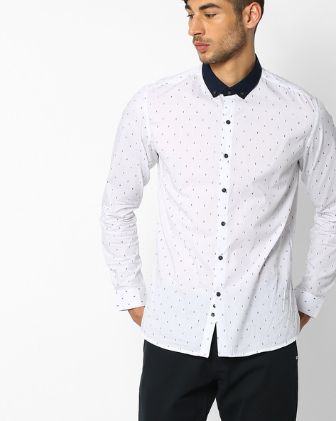 Regular Fit Shirt With Button-Down Collar By NETPLAY ( White )