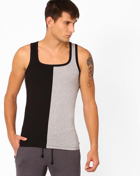 Colourblock Cotton Fashion Vest By CHROMOZOME ( Black )