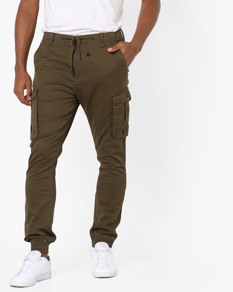 Cargo Joggers With Drawstring Fastening By Locomotive ( Green )