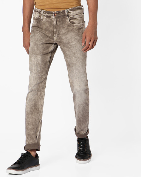 Acid-Washed Slim Tapered Fit Jeans By AJIO ( Grey )