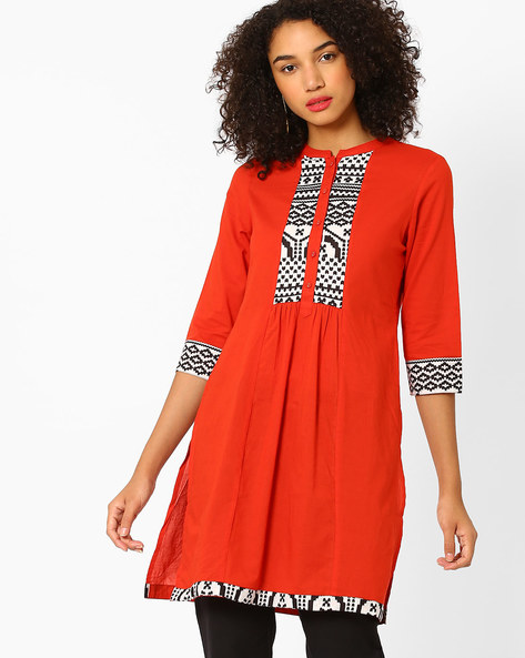 Printed Kurta With Mandarin Collar By AJIO ( Red )