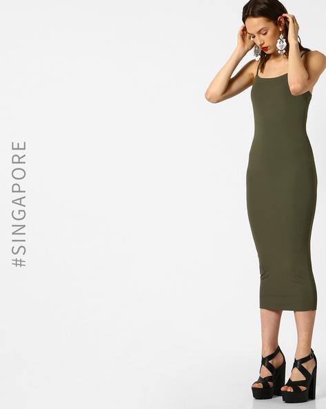 Cami Bodycon Midi Dress By MDS ( Green )