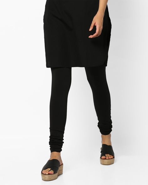 Cotton Churidar Leggings With Elasticated WaistbandCotton Churidar Leggings With Elasticated Waistband By SOCH ( Black )