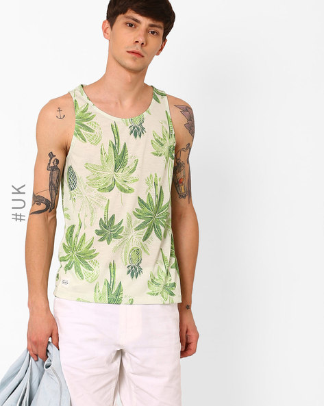 Horden Tropical Print Fashion Vest By Native Youth ( Green )