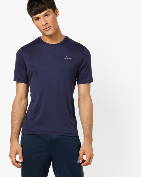 Crew-Neck T-shirt With Signature Branding By ALCIS ( Navyblue )