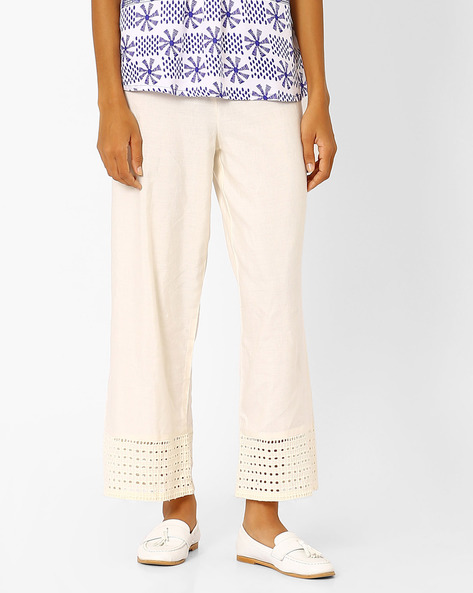 Palazzo Pants With Cut-Out Panels By Global Desi ( Offwhite )