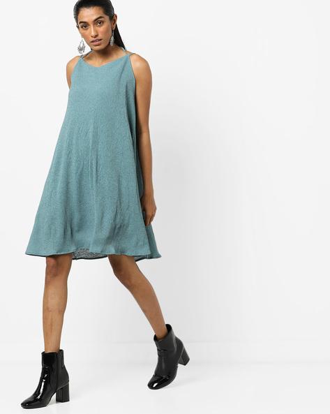 Strappy Shift Dress By AJIO ( Teal )
