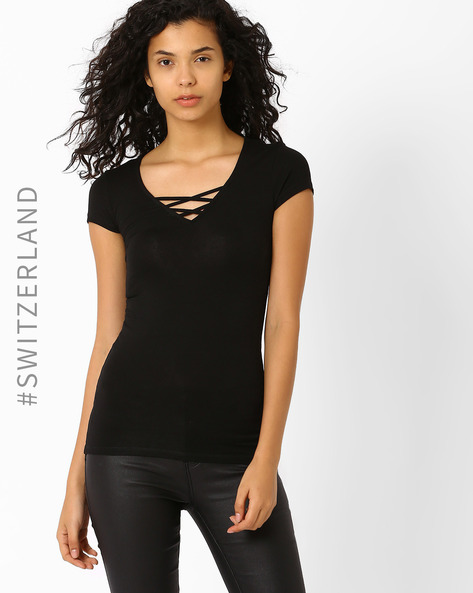 T-shirt With Short Sleeves By TALLY WEiJL ( Black )