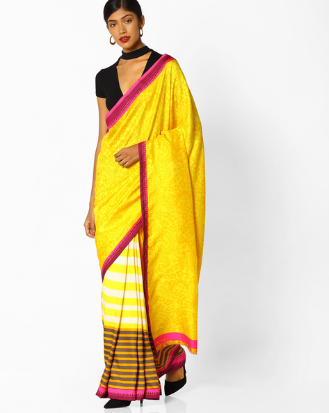 Printed Saree With Contrast Border By Runalaila ( Yellow )