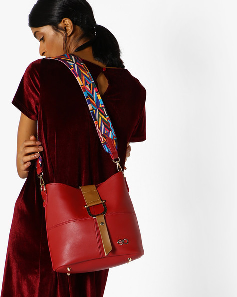 Tote Bag With Woven Sling Strap By E2O ( Red )