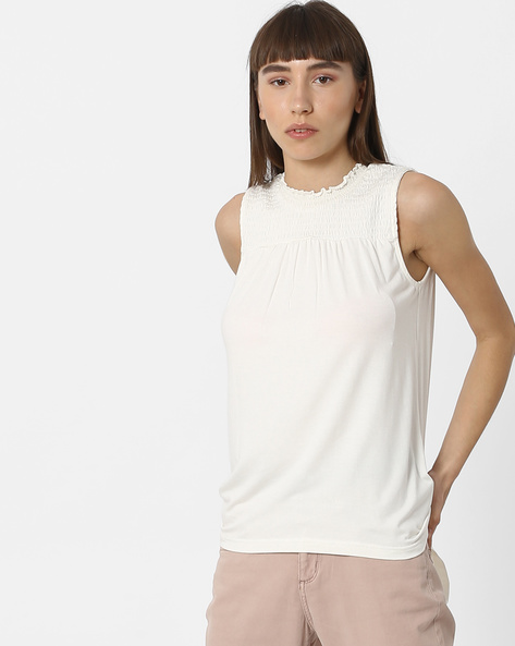 Sleeveless Top With Smocked Yoke By DNMX ( White )