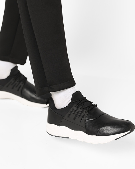 Low-Top Lace-Up Sneakers By AJIO ( Black ) - 460131511001