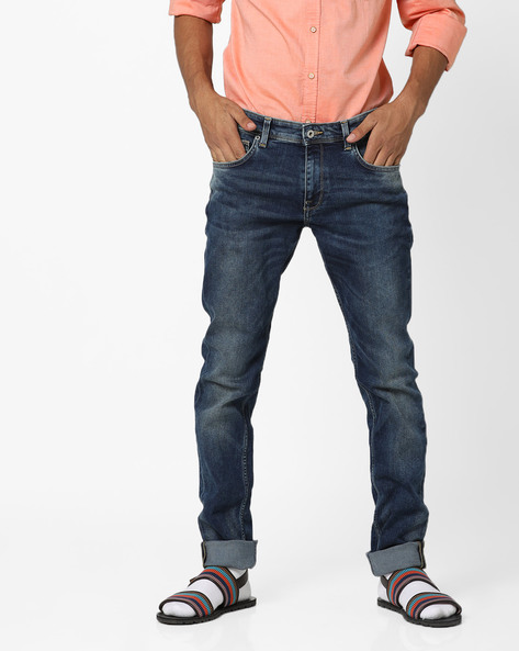 Slim Fit Mid-Washed 5-Pocket Jeans By INDIAN TERRAIN ( Navyblue )