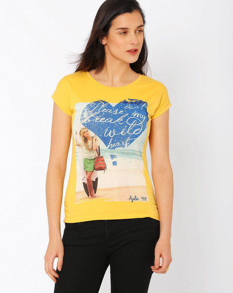 Graphic Print T-shirt By Ajile By Pantaloons ( Yellow )