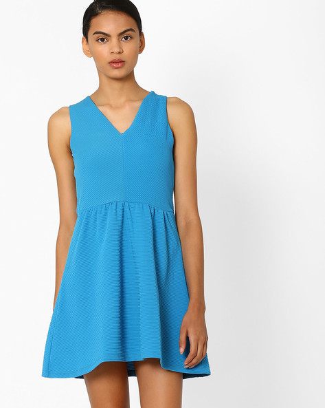 Sleeveless Fit & Flare Dress By CHEMISTRY ( Blue )