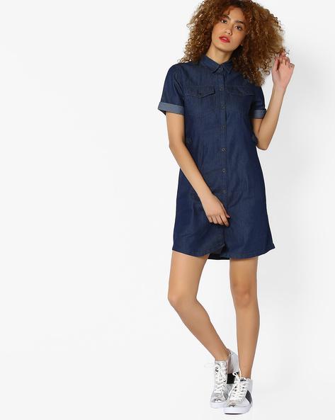 Denim Shirt Dress With Flap Pockets By AJIO ( Blue )