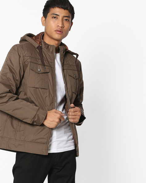 Hooded Jacket With Front Zipper By Fort Collins ( Coffeebrown )