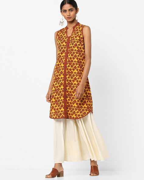 Leaf Print Sleeveless Straight Kurta By AJIO ( Yellow )