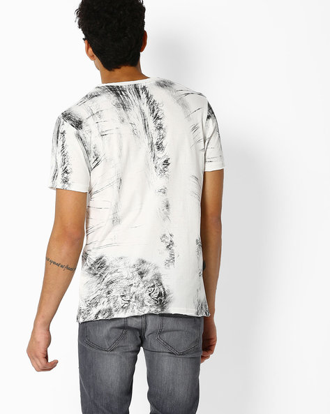Graphic Print Crew-Neck T-shirt With Raw Edges By DNMX ( Offwhite )