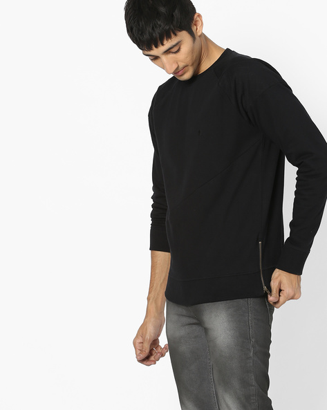 Panelled Sweatshirt With Side Zipper By WRANGLER ( Black )