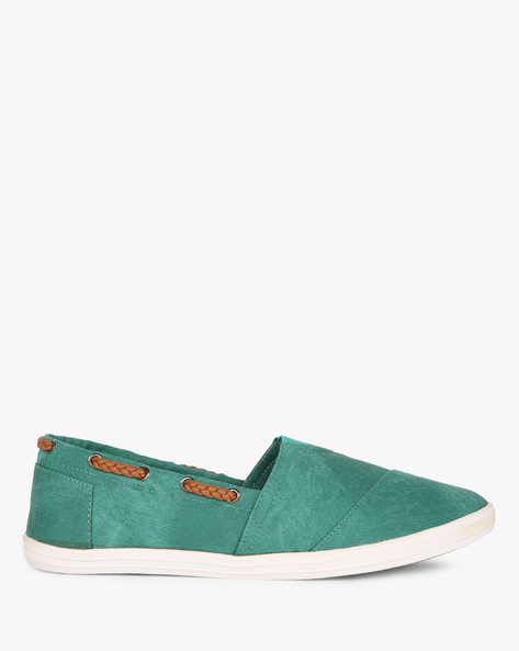 Slip-Ons With Elasticated Gusset By AJIO ( Darkgreen )