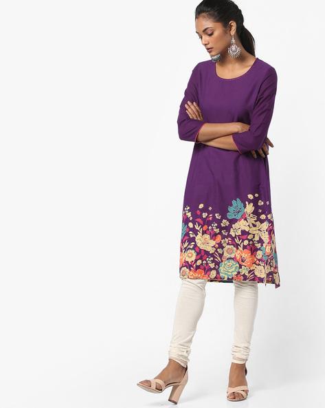 Floral Print Straight Kurta By Melange By Lifestyle ( Purple )
