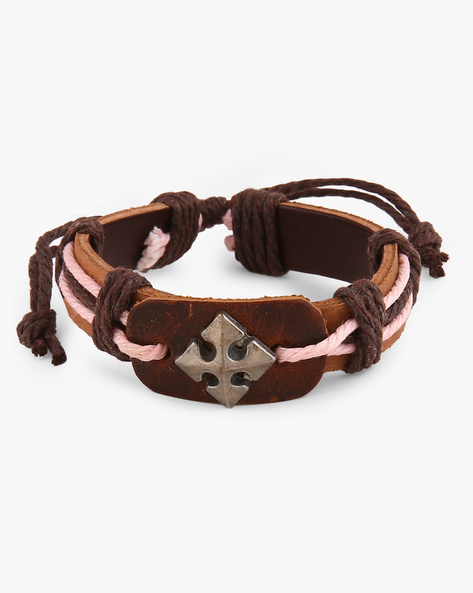 Faux Leather Bracelet With Metallic Accent By ALPHA MAN ( Multicolor )