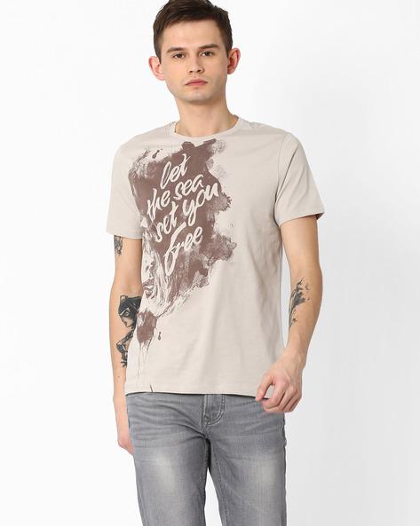 Graphic Print Crew-Neck T-shirt By AJIO ( Grey )