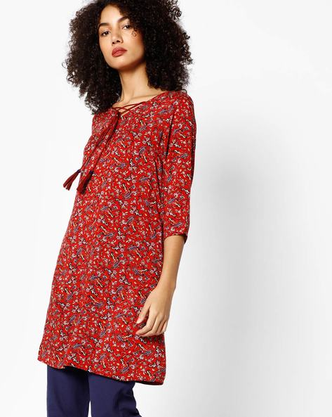 Paisley Print A-line Kurta By Melange By Lifestyle ( Darkred )