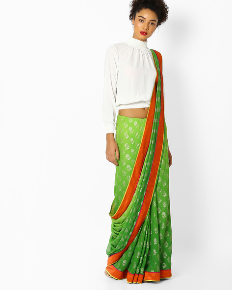 Floral Print Saree With Contrast Border By Florence ( Green )