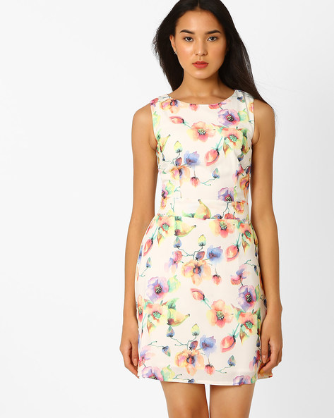 Floral Print Shift Dress By Recap ( Cream )