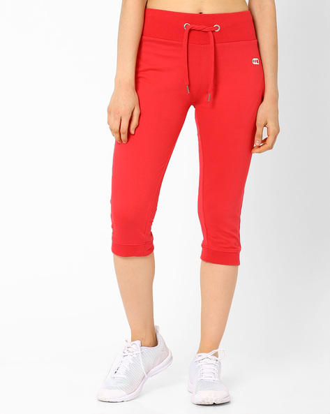 Cuffed Capris With Drawstring Waist By Ajile By Pantaloons ( Red )