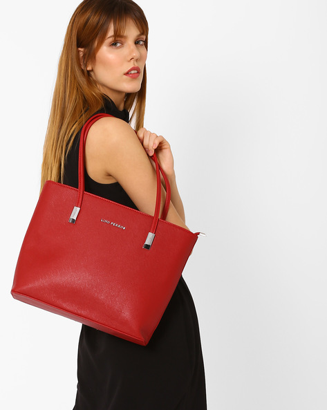Textured Handbag With Flat Handles By Lino Perros ( Red )