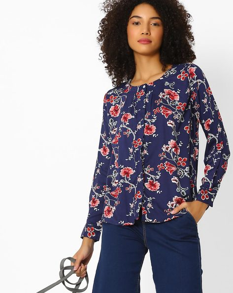 Floral Print Top By FIG ( Navy )