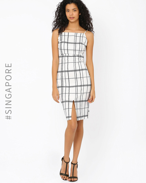 Checked Tailored Dress By MDS ( White )