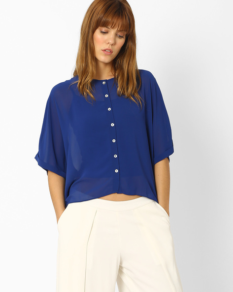 Sheer Top With High-Low Hem By And ( Blue )
